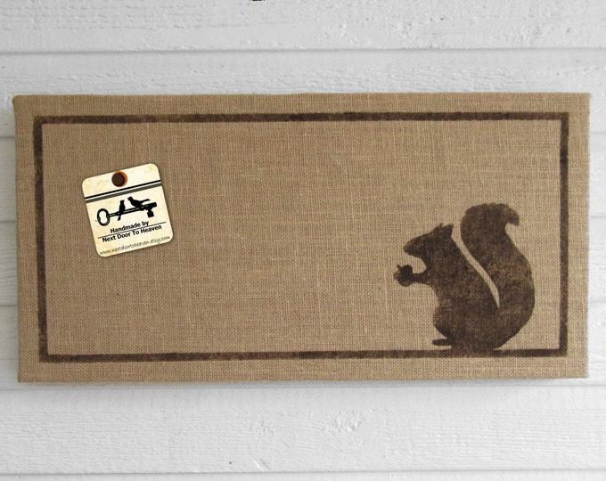 Woodland Squirrel - 12 x 24 Burlap over Cork Message Board, Pin Board, Memo Board, Bulletin Board - Squirrel decor - Squirrel wall decor