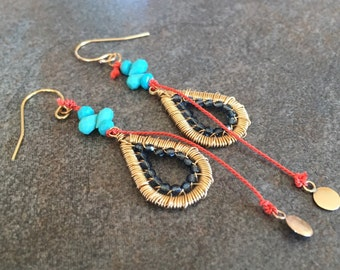Bohemian wire wrapped Sleeping Beauty turquoise and Swarovksi crystal with vibrant orange silk earrings.