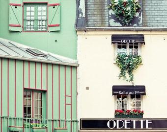 """Paris Cafe Photo, """"Odette"""", Windows of Paris Print, Paris Photography, Spring Decor, Beige Green Art Print, French Home Decor"""