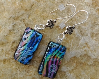 Glass Earrings, French Hook Earrings, Dichroic Fused Glass Drop Earrings, Animal Print Fused Glass Earrings, Rainbow Tiger Glass Earrings