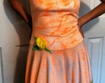 Peach Dreamsicle Spraypainted Upcycled Tshirt Slip Dress