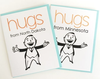 Send a Hug Greeting Card, Hugs from your State Card