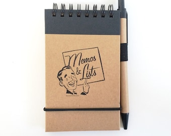 On Sale - Memos and Lists Notebook with Pen - 3x5 inch. List Maker. Pocket Notebook. Small Notebook. Jotter Notebook. Memo Notebook.