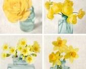 Flower Photo Set, Flower Photography, Yellow, Orange, Teal, Aqua, Floral Art Prints, Wall Art, Photography Set, Wall Decor, Set of 4 Photos