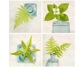 Botanical Print Set, Green Art, Flower Photography, Botanical Decor, Teal, Aqua, Flower Wall Art, Still Life Photography, Set of 4 Prints
