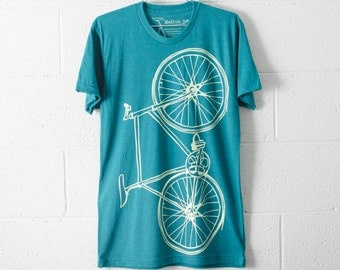 SALE Bike TSHIRT LARGE mens lightning fixie bicycle on evergreen tri-blend L