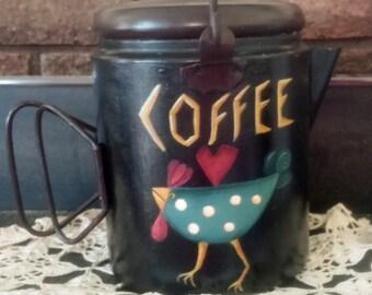 SALE: Decorative Hand Painted  Prim Rooster Black Metal Coffee Pot