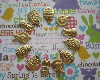 Easter Charms Spring Supplies Brass Set/12 On Etsy