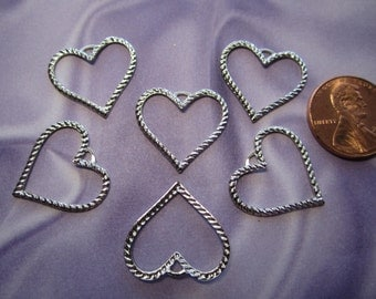 Heart CHARMS Large Open Rope Outline Silver Tone Jewelry Charms/Earrings/Craft with loop on Etsy x 6