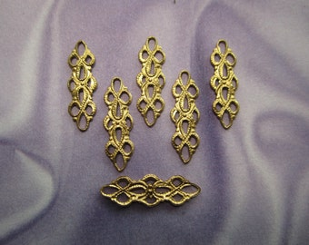 Filigree Connector Lacy Links Brass Supplies on Etsy x 6