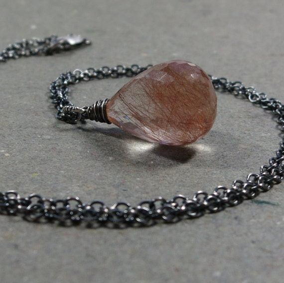 RESERVED -- Rutilated Quartz Pendant Necklace Coppery Sterling Silver