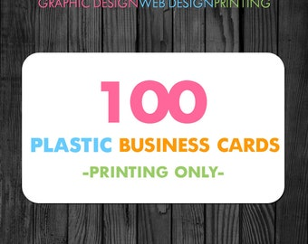 100 Plastic Business Cards, Business Card Printing, Printed Business Cards, Double Sided Business Cards, Rounded Corner Business Cards
