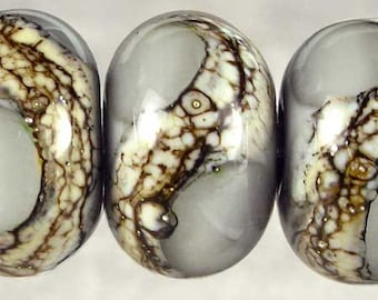 Handmade Lampwork Glass Set of 6 with Organic Web Small 11x7mm Pearl Gray