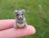 Needle Felted Miniature Gray Bear Tiny Figure