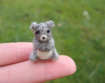 Needle Felted Miniature Gray Bear Tiny Figure