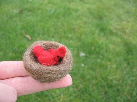 Needle Felted Miniature Cardinal Tiny Figurine