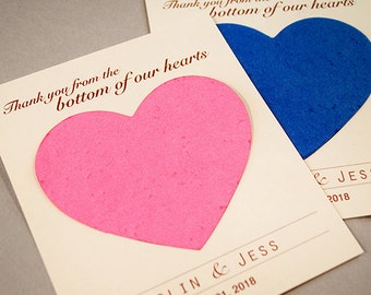 25 Seed Paper Heart Plantable Wedding Favors