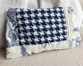 cosmetics case in houndstooth and toile with vintage lace - white and blue zippered pouch - cotton make up bag - aubrey fabric case