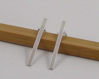 Long Silver Bar Post Earrings