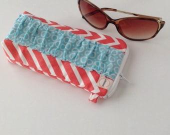 Coral Sunglass Eyeglass padded case with zipper. Ruffled Sunnies pouch. Aqua dots ruffle.