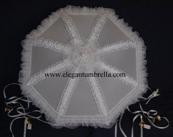 34 White Organza Lace Bridal Shower Umbrella With Gold Bells
