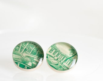 Button earrings | Postage stamp | Greece | Green | Post