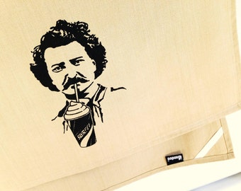 Louis Riel Slurpee kitchen dish towel. Silk screened cotton tea towel.