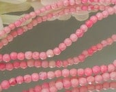 24 Bright Pink Magnesite 4mm Facet Rounds- Bastet's Beads