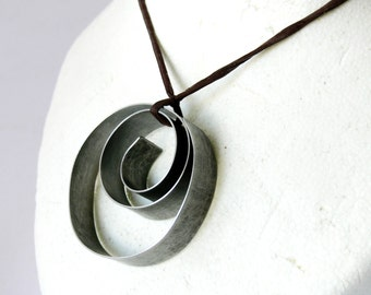 Tango Pendant Hand wrapped Stainless Steel Metal Necklace on Pure Silk Necessary Jewelry 1007