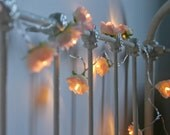 Blush Fairy Lights , Rambling Rose String Lights, Pink and Cream Flower Lights