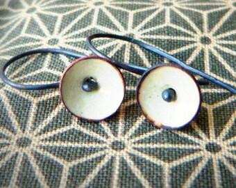 tiny poppy earrings torch fired enamel cream-sterling silver-dangle earrings