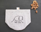 Snack pouch, Reusable snack bag, Pouch, Elephant Pouch