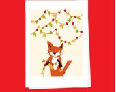 christmas card red fox with garland card collection