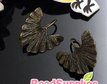 FN-ER-03051-Nickel Free, Antique brass, Ginko earrings, 4 pairs