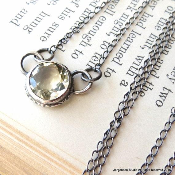 Clearance  sale Lemon Citrine Necklace Sterling Silver Gemstone Necklace Clearance Sale