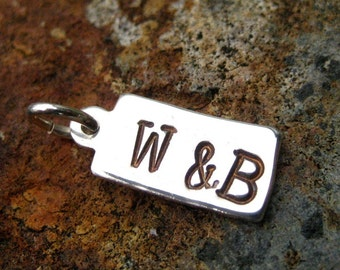 Me & You Initial Charm - Hand Stamped Silver - Me Plus You