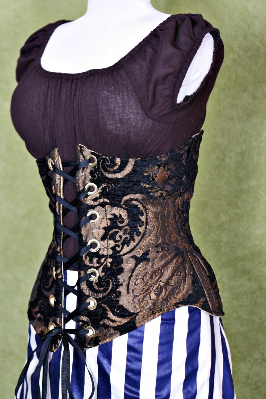 Waist 33 to 35 Black & Gold Medallion Wench Corset steampunk buy now online
