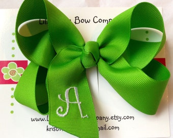 Customized Girls Monogrammed Boutique Hair Bow - Lrg  W/ Curlz Font