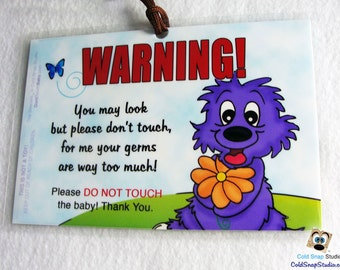 2 Pack: Look Don't Touch Do Not Touch the Baby Tag, Newborn, Infant Car Seat Sign - The Seacats RAINY