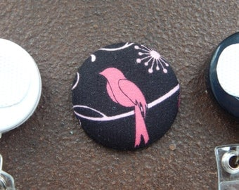 Pink Bird Fabric Covered Button for Clip on Retractable Badge Reel