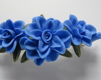 "4""  Blue Cold Porcelain Floral French Barrette"