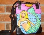 Hand Painted Mermaid Handbag Purse Shoulder Bag Cross Body Bag