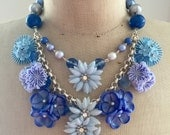 SALE Vintage Flower Necklace, Statement Necklace,crystal necklace - Blue Bayou