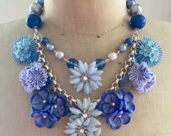 SALE Vintage Flower Necklace, Statement Necklace,crystal necklace - Blue Bayou