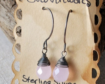 Rose Quartz Earrings Faceted Briolettes in Sterling Silver