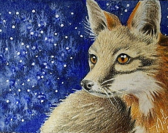 Red Fox Miniature Art by Melody Lea Lamb ACEO Print #290