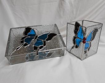 Glass Box and Pen Holder Set