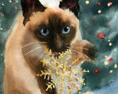 Original Siamese cat Art watercolor Painting for Christmas Cat  Lover Unique Gift Seal Point Chocolate Point