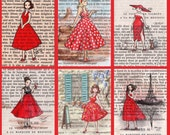 Postcards - Paris Vintage Bookish Postcards - Les Dames En Rouge Ladies In Red  - Set of 12