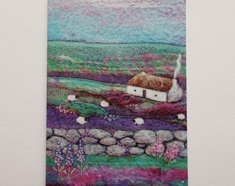 Mauve On the Mountain Printed Greetings Card